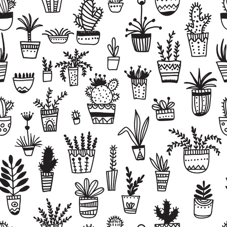 Vector seamless pattern with ethnic tribal style hand-drawn house plants. Can be printed and used as wrapping paper, wallpaper, textile, fabric, etc.
