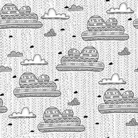 Vector seamless pattern with rainy clouds in the sky with drops in ethnic tribal style. Can be printed and used as wrapping paper, wallpaper, textile, fabric, etc.
