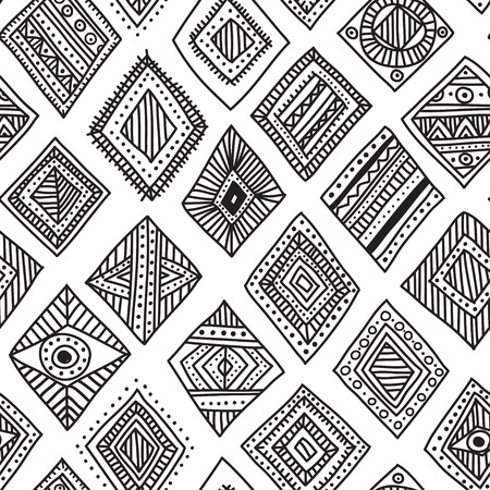 Vector seamless pattern with hand-drawn ethnic tribal style rhombus. Can be printed and used as wrapping paper, wallpaper, textile, fabric, etc. Illustration