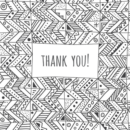 Thank you greeting vector card in ethnic tribal style. Can be printed and used as greeting card, placard, invitation. Illusztráció