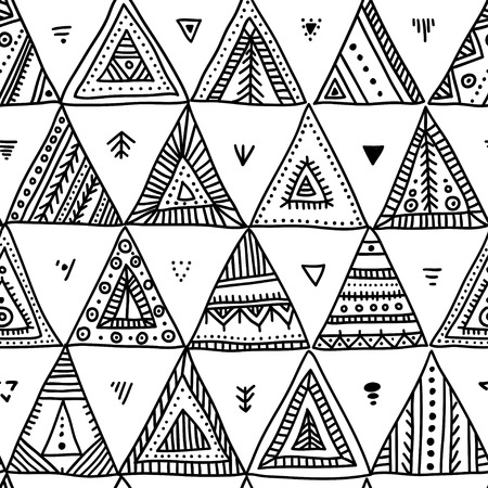 Vector seamless pattern with hand-drawn ethnic tribal style triangles. Can be printed and used as wrapping paper, wallpaper, textile, fabric, etc. Illustration