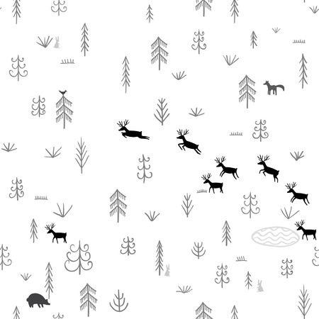 Vector seamless pattern with wild forest life, deers, bear, rabbit, bird and wolf. Can be printed and used as wrapping paper, wallpaper, textile, fabric, etc. Illustration