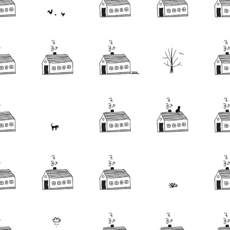 Vector seamless pattern with houses and city life. Can be printed and used as wrapping paper, wallpaper, textile, fabric, etc.
