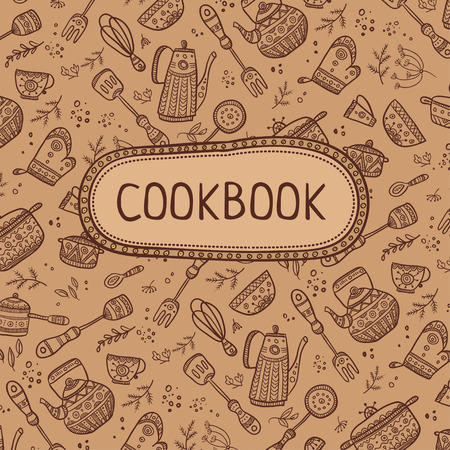Cookbook cover design with kitchen items pattern. Vector template. 일러스트