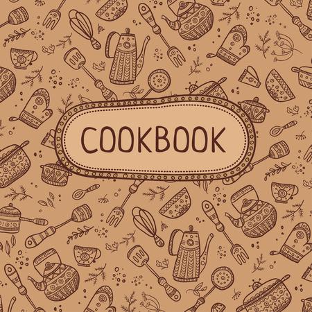 Cookbook projekt okładki z elementami kuchni wzorca. Wektor szablonu. Ilustracje wektorowe