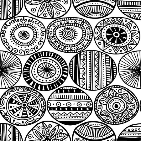 Ethnic tribal style black circles seamless pattern on white background. Can be printed and used as wrapping paper, wallpaper, textile, fabric, etc. Illustration