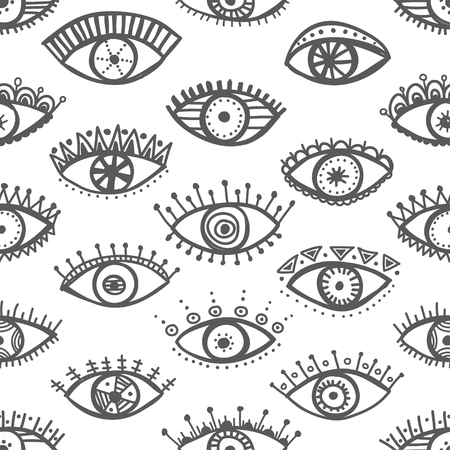Hand drawn indian ethnic tribal eyes fashion black and white trendy seamless pattern. Can be printed and used as wrapping paper, wallpaper, textile, fabric etc.