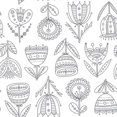 Ethnic style ornamental flowers vector seamless pattern. Can be printed and used as wrapping paper, wallpaper, textile, fabric, etc.