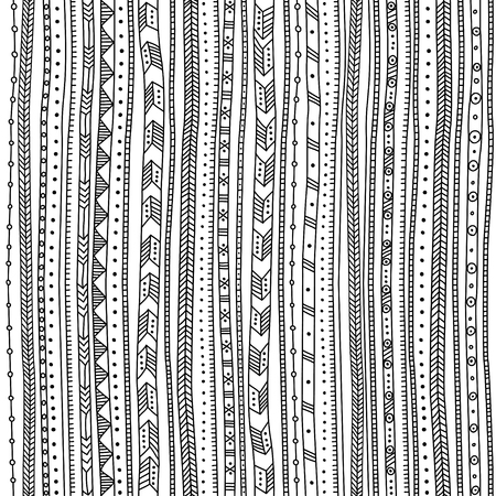 Vector seamless pattern with ethnic tribal hand-drawn trendy ornaments. Can be printed and used as wrapping paper, wallpaper, textile, fabric, etc. Illustration