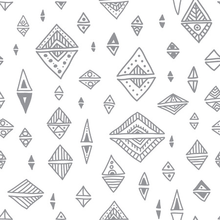 Ethnic tribal style triangle rhombus geometric vector seamless pattern. Can be printed and used as wrapping paper, wallpaper, textile, fabric, etc. Illustration