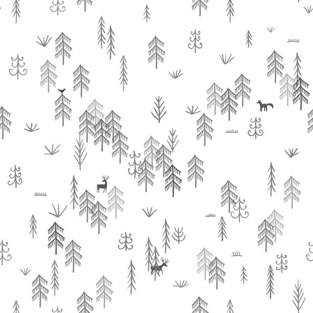 Vector seamless pattern with wild forest life with wolf hunting deers. Can be printed and used as wrapping paper, wallpaper, textile, fabric, etc.