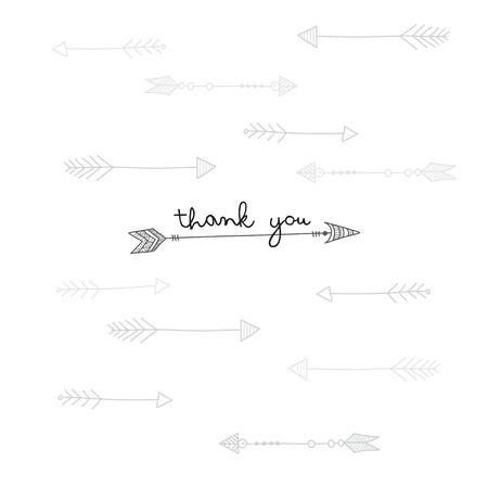 Thank you card with ethnic arrows in tribal style on white background. Can be printed and used as greeting card, invitation, poster. Illustration