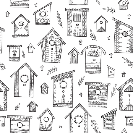 Vector seamless pattern with ethnic tribal hand drawn bird houses. Can be printed and used as wrapping paper, wallpaper, textile, fabric, coloring page, etc. Illustration