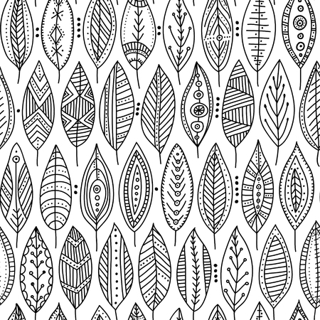 Vector seamless pattern with ethnic tribal style ornamental leaves. Can be printed and used as wrapping paper, wallpaper, textile, fabric, coloring page, etc.
