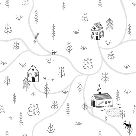 Vector seamless pattern with forest life with houses. Can be printed and used as wrapping paper, wallpaper, textile, fabric, etc. Illustration