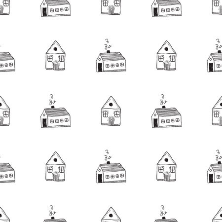 Abstract vector seamless pattern with houses on white background. Can be printed and used as wrapping paper, wallpaper, textile, etc.