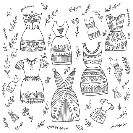 Boho ethnic style dresses set. Can be printed and used as wrapping paper, wallpaper, textile, fabric etc.