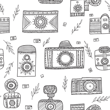 Boho ethnic style vintage cameras seamless pattern. Can be printed and used as wrapping paper, wallpaper, textile, fabric, etc.