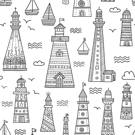 Ethnic style lighthouses with ornaments seamless pattern. Can be printed and used as wrapping paper, wallpaper, textile, fabric, etc