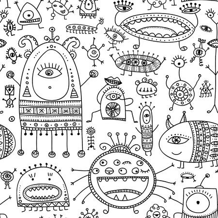 ethnic ornate style monsters seamless pattern. Can be printed and used as wrapping paper, wallpaper, textile, fabric, etc.