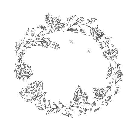 Floral frame style ethnique. Peut être utilisé comme modèle pour carte, invitation, mariage