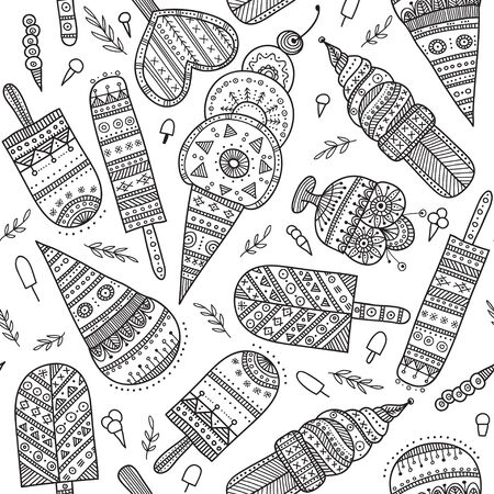 Ice cream seamless pattern in ethnic ornate boho style. Can be printed and used as wrapping paper, wallpaper, textile, fabric, etc.