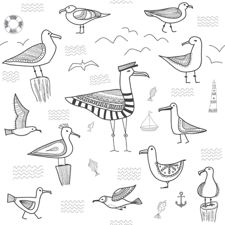 seagulls seamless pattern in ethnic tribal boho style.Can be printed and used as wrapping paper, wallpaper, textile, etc. Illustration