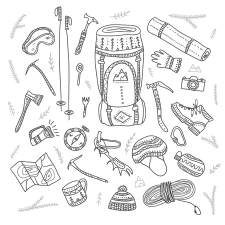 crampons: Climbing equipment set in ethnic ornate boho style. Can be printed and used as template, card, placard fabric, etc. Illustration