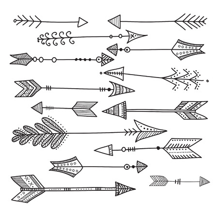 Ethnic boho style arrows set. Can be used as template, design, card, poster, etc Illustration