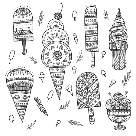 Ice cream set in ethnic ornate boho style. Can be printed and used as wrapping paper, wallpaper, textile, fabric, etc.