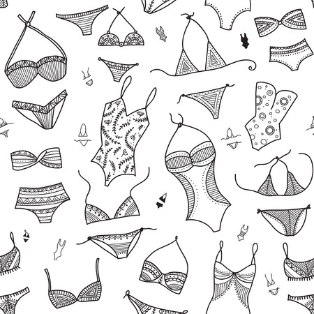 Swimsuits seamless pattern in ethnic ornate boho fashion style. Can be printed and used as wrapping paper, wallpaper, textile, fabric, etc.