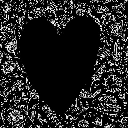Black heart on the floral background. Can be used as frame or border for your text, card, template.