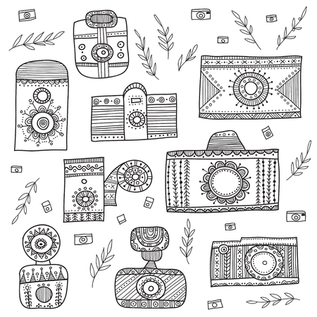 vintage cameras in boho ethnic style with ornaments set. Can be printed and used as wrapping paper, wallpaper, textile, fabric, etc.