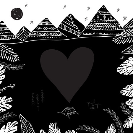 Camping and mountains card with heart frame. Can be printed and used as  template, poster, card, invitation etc.