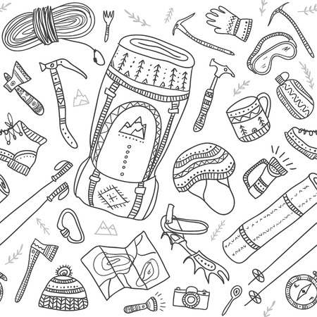 crampons: Climbing equipment seamless pattern in ethnic ornate boho style. Can be printed and used as wrapping paper, wallpaper, textile, fabric, etc.