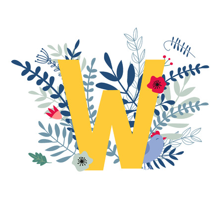 Alphabet, letter w in floral design with flowers and plants. Vector colorful ABC element. Vetores
