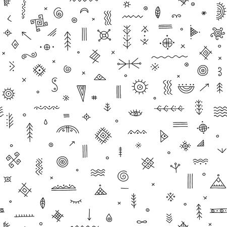 Vector Seamless Pattern With Ethnic Tribal Boho Trendy Symbols