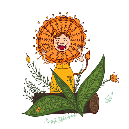 Vector girl roar in Lion costume isolated illustration. Can be used and printed as card, postcard, placard, poster, invitation 向量圖像