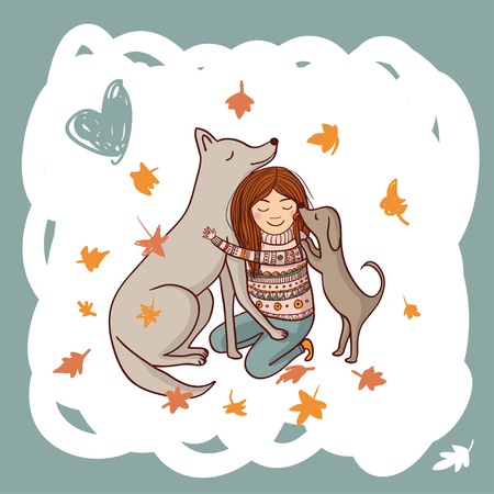 Vector girl with dogs in autumn illustration. Can be used and printed as card, postcard, placard, poster, invitation