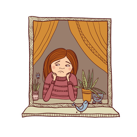Vector sad girl looking in the window illustration. Can be used and printed as card, postcard, placard, poster, invitation Vektorové ilustrace