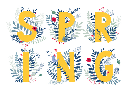 Word spring in floral design with flowers and plants. Vector colorful ABC element. alphabet letter