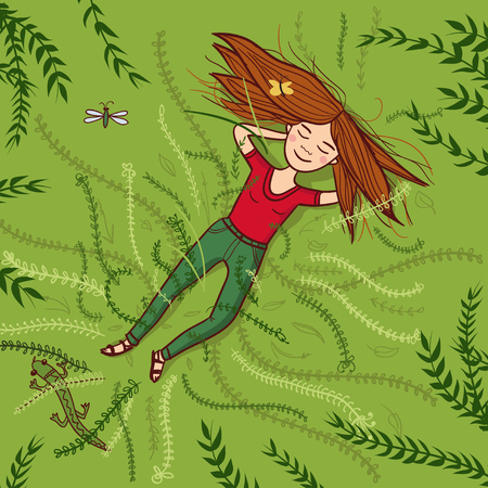 Vector girl lying on grass summer illustration. Can be used and printed as card, postcard, placard, poster, invitation