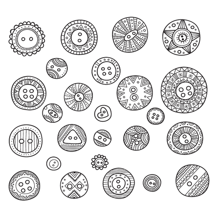 assortment: A large vector set of cloth buttons in different boho style designs with ornaments for your sewing or needlework design, banner, card