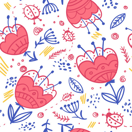 pen and marker: Vector flowers and bugs black and white seamless pattern. Isolated, colorful. Can be used as a background, pattern, wrapping paper, backdrop, wallpaper or as bag template, print for packet etc. Illustration