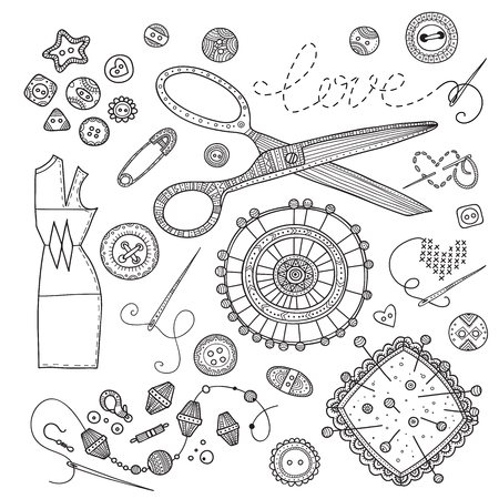 A vector set of sewing tools on white background.