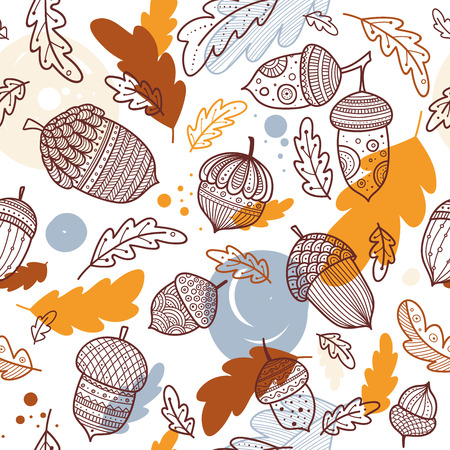 Acorn vector seamless pattern in boho style with ornament and oak leaves. Can be printed and used as wrapping paper, wallpaper, textile, fabric etc.
