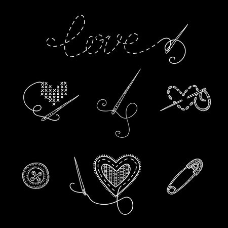 vector set of sewing tools. Template for needlework, tailor, handmade, dressmaking design, coloring page.