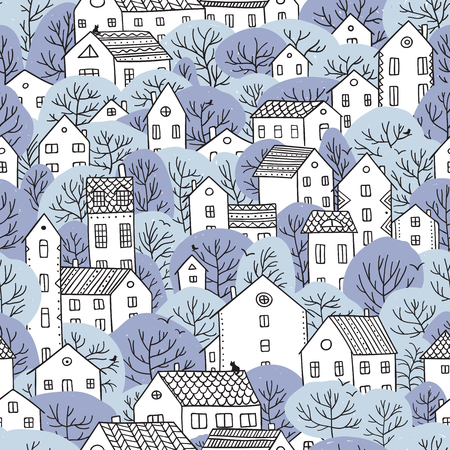 Trees and houses pattern.
