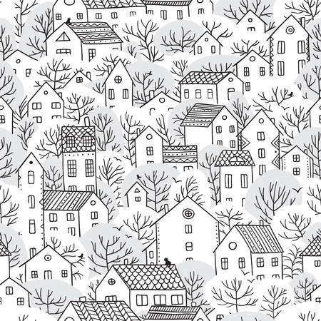 Trees and houses seamless pattern. Winter snowy landscape. Can be printed and used as christmas wrapping paper, wallpaper, textile, fabric etc.