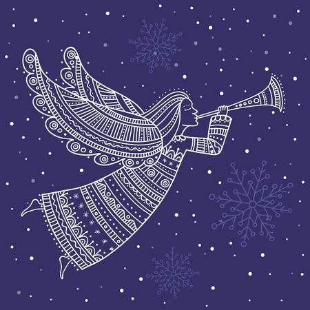 Ángel con cuerno y nieve en el cielo nocturno con el vector de estrellas